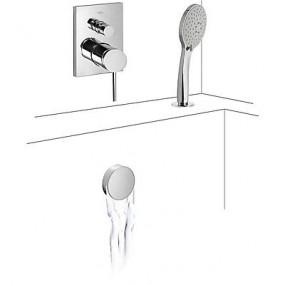 Tres Mono-Term kompletny zestaw wannowo-prysznicowy podtynkowy napełnianie przez przelew kaskada chrom - 525290_O1