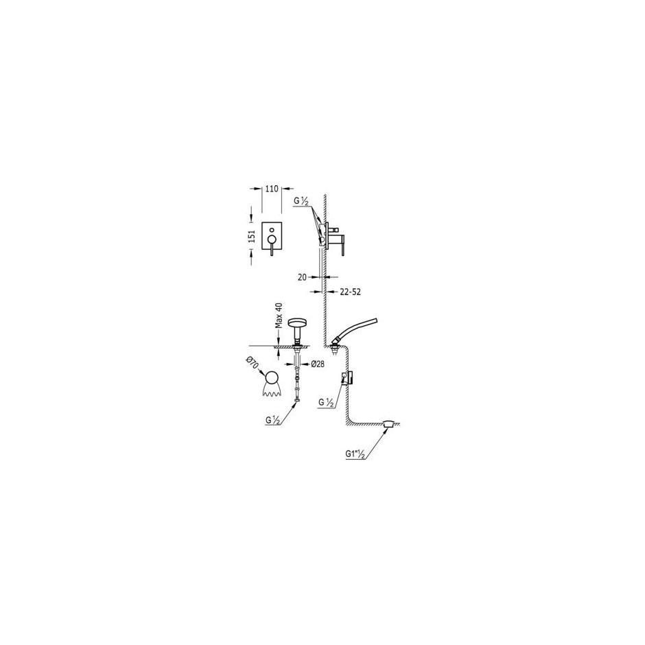 Tres Mono-Term kompletny zestaw wannowo-prysznicowy podtynkowy napełnianie przez przelew kaskada chrom - 525290_O2