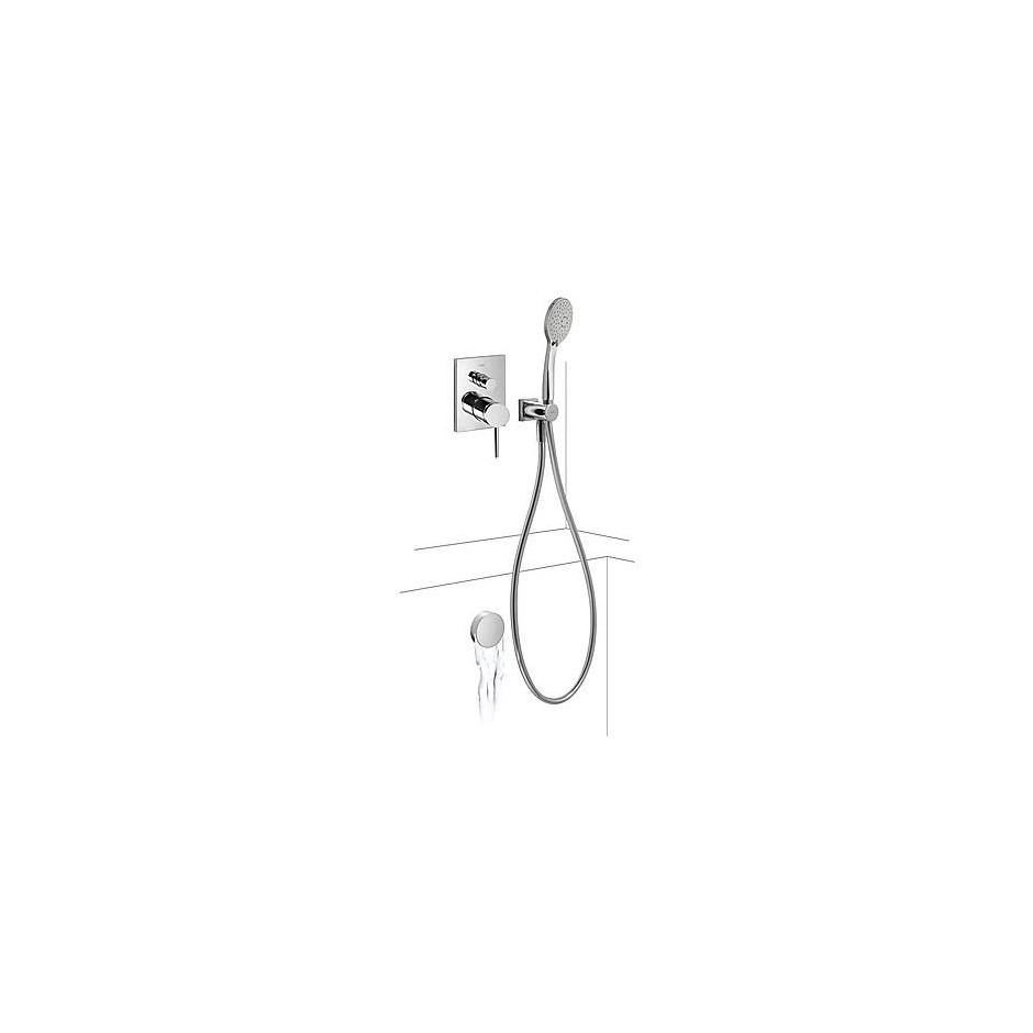Tres Mono-Term kompletny zestaw wannowo-prysznicowy podtynkowy napełnianie przez przelew kaskada chrom - 525134_O1