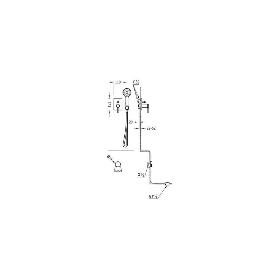Tres Mono-Term kompletny zestaw wannowo-prysznicowy podtynkowy napełnianie przez przelew kaskada chrom - 525134_O2