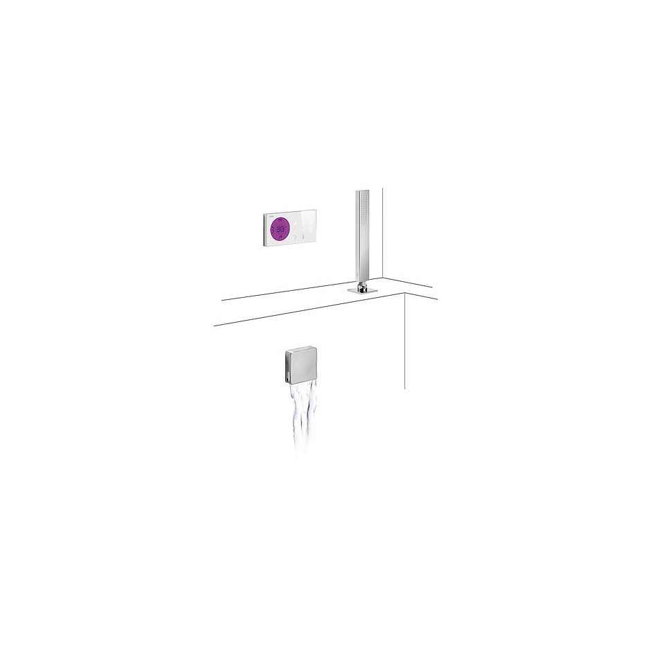 Tres Shower Technology kompletny zestaw wannowy podtynkowy termostatyczny elektroniczny 2-drożny kaskada chrom - 525281_O1