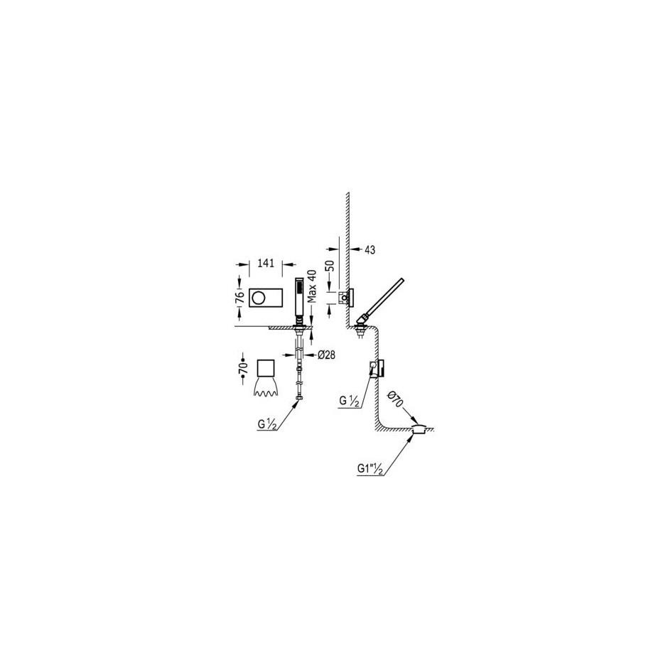Tres Shower Technology kompletny zestaw wannowy podtynkowy termostatyczny elektroniczny 2-drożny kaskada chrom - 525281_O2
