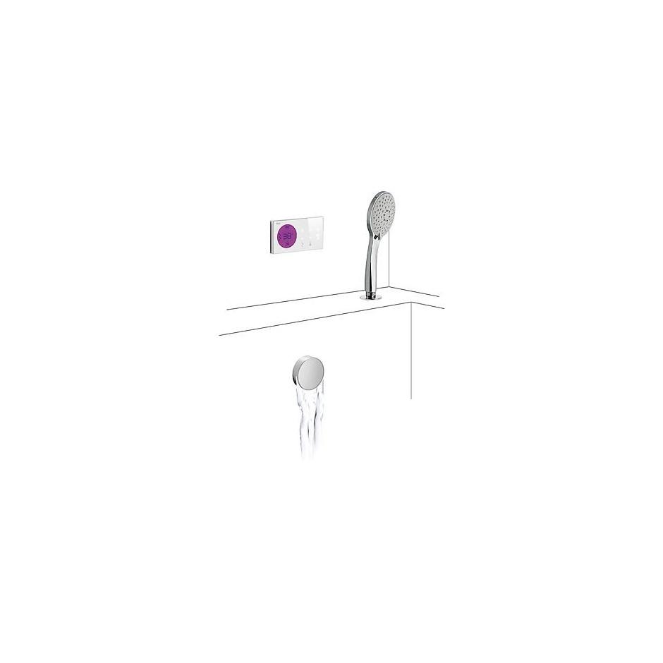 Tres Shower Technology kompletny zestaw wannowy podtynkowy termostatyczny elektroniczny 2-drożny kaskada chrom - 525135_O1
