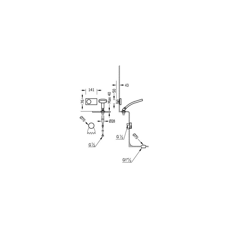 Tres Shower Technology kompletny zestaw wannowy podtynkowy termostatyczny elektroniczny 2-drożny kaskada chrom - 525135_O2