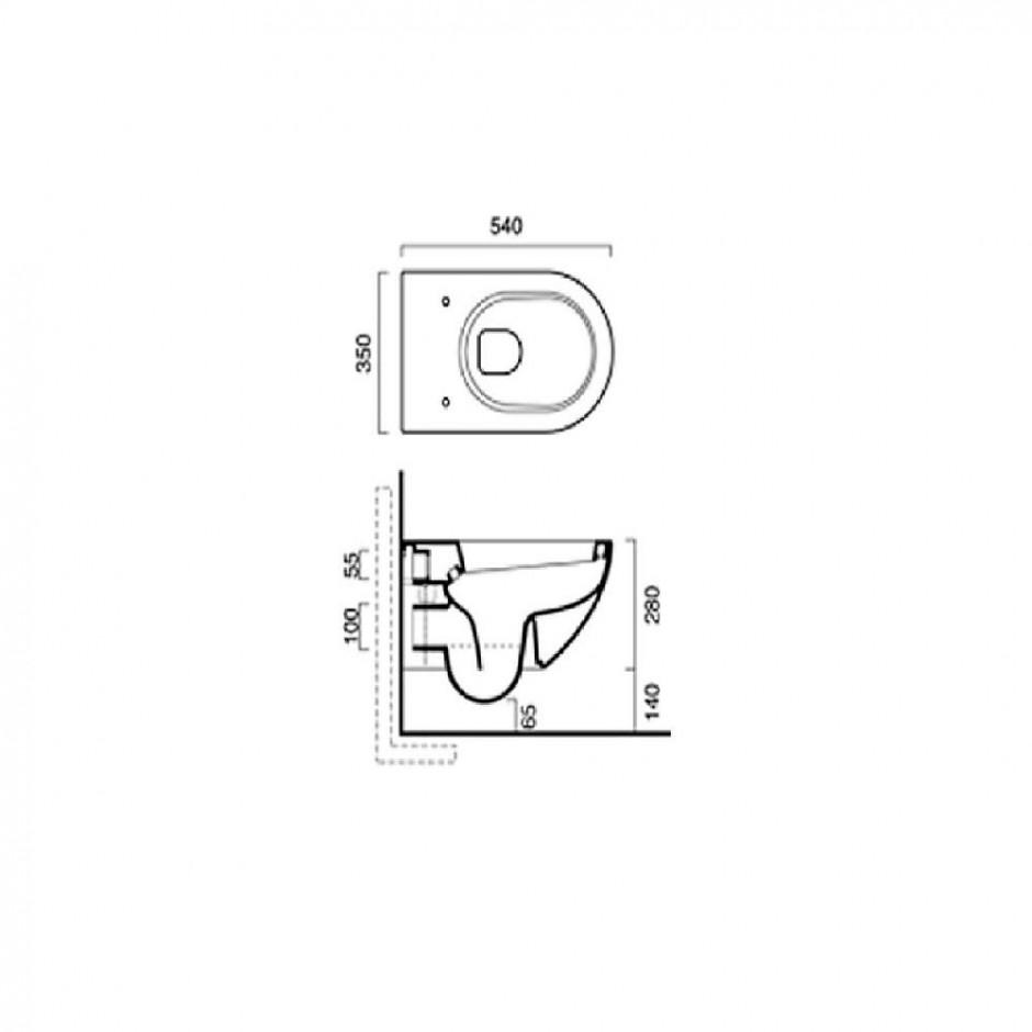 Catalano Sfera Zestaw Miska WC wisząca bezrantowa z śrubami mocującymi z deską sedesową w/o (1VSF54R00+5SCSTP000) - 526340_O2
