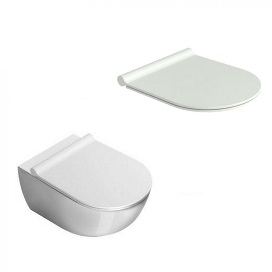 Catalano Sfera Zestaw Miska WC wisząca bezrantowa z śrubami mocującymi z deską sedesową w/o (1VSF54R00+5SCSTP000) - 686753_O1