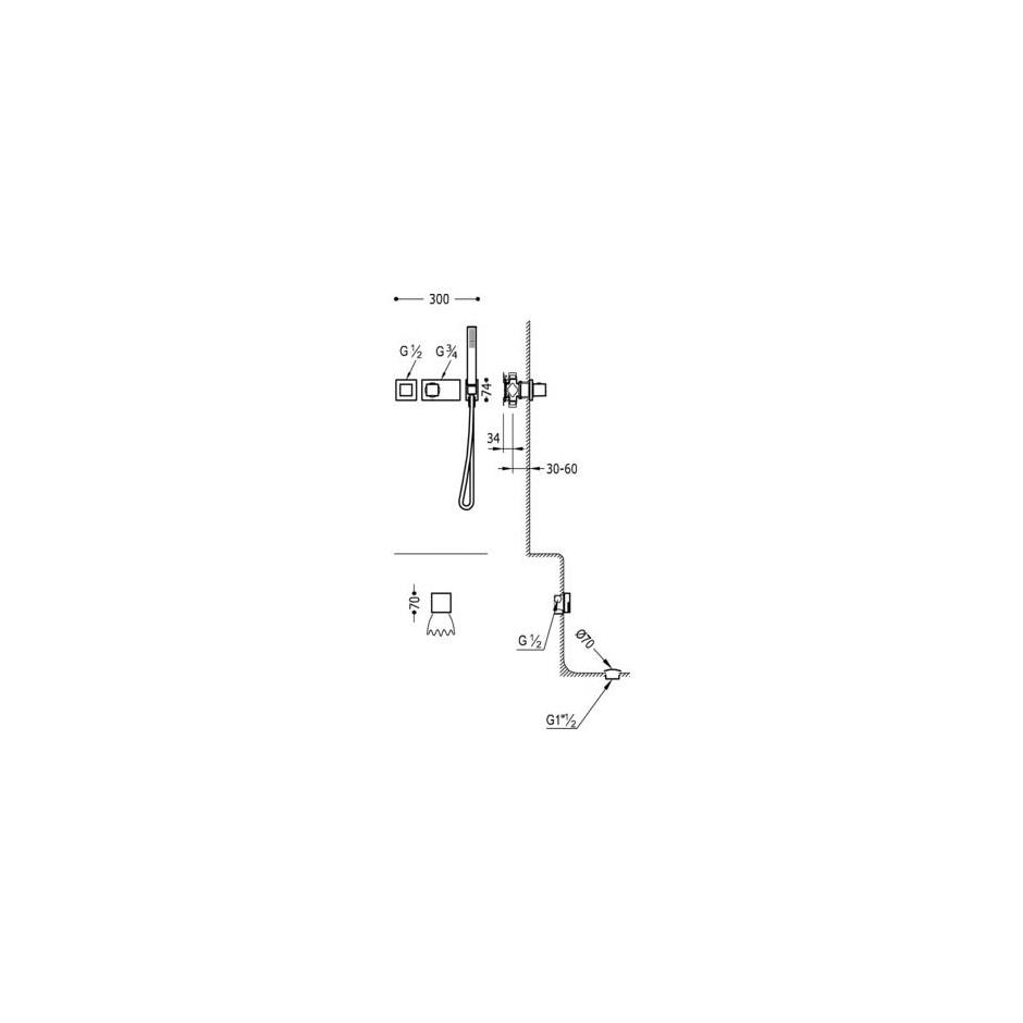 Tres Block System kompletny zestaw wannowo-prysznicowy podtynkowy termostatyczny 2-drożny napełnianie przez przelew kaskada chrom - 524990_O2