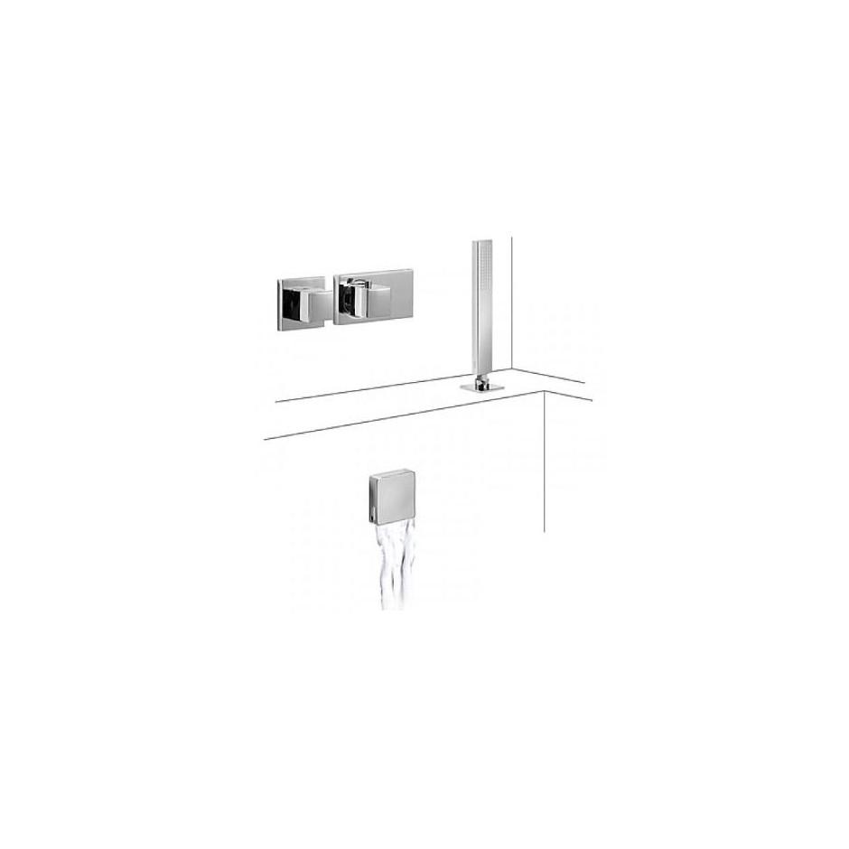 Tres Block System kompletny zestaw wannowo-prysznicowy podtynkowy termostatyczny 2-drożny napełnianie przez przelew kaskada chrom - 525112_O1