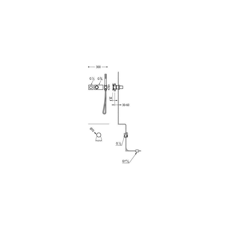 Tres Block System kompletny zestaw wannowo-prysznicowy podtynkowy termostatyczny 2-drożny napełnianie przez przelew kaskada chrom - 525340_O2