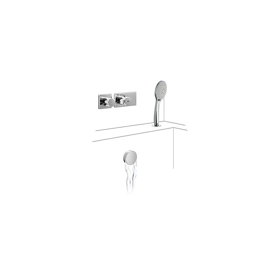Tres Block System kompletny zestaw wannowo-prysznicowy podtynkowy termostatyczny 2-drożny napełnianie przez przelew kaskada chrom - 525228_O1