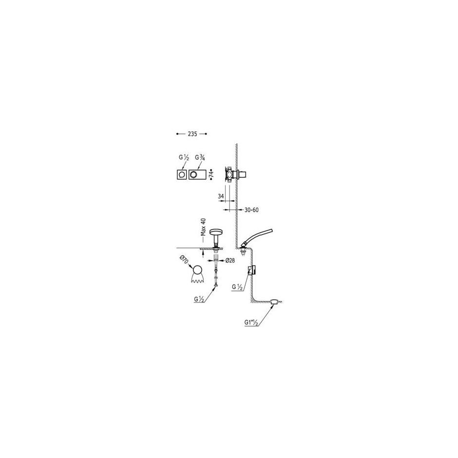 Tres Block System kompletny zestaw wannowo-prysznicowy podtynkowy termostatyczny 2-drożny napełnianie przez przelew kaskada chrom - 525228_O2