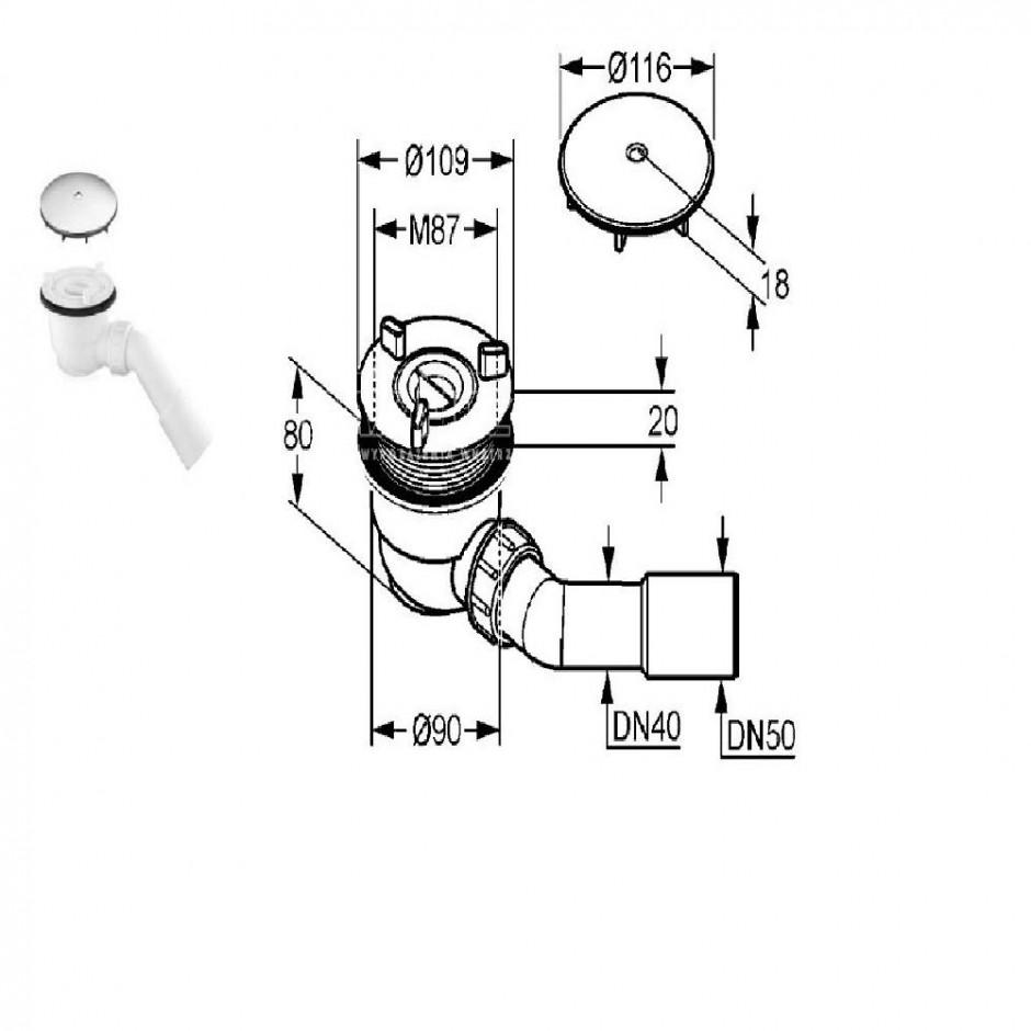 Kludi Tasso 90 syfon do brodzika o średnicy 90mm samoczyszczący. Zestaw odpływowy - komplet - 24136_O3