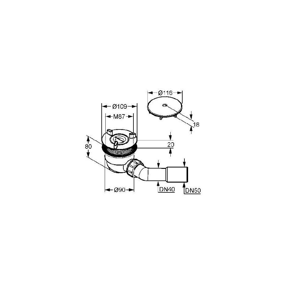 Kludi Tasso 90 syfon do brodzika o średnicy 90mm samoczyszczący. Zestaw odpływowy - komplet - 24136_T2