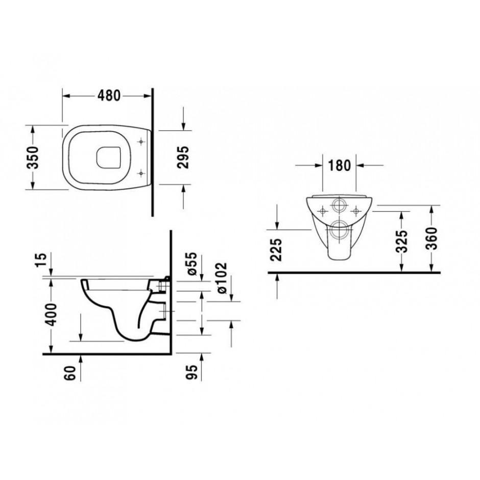 Duravit D-Code Zestaw miska WC wisząca 48x35 z deską zwykłą (22110900002+0067310000) - 436300_T1