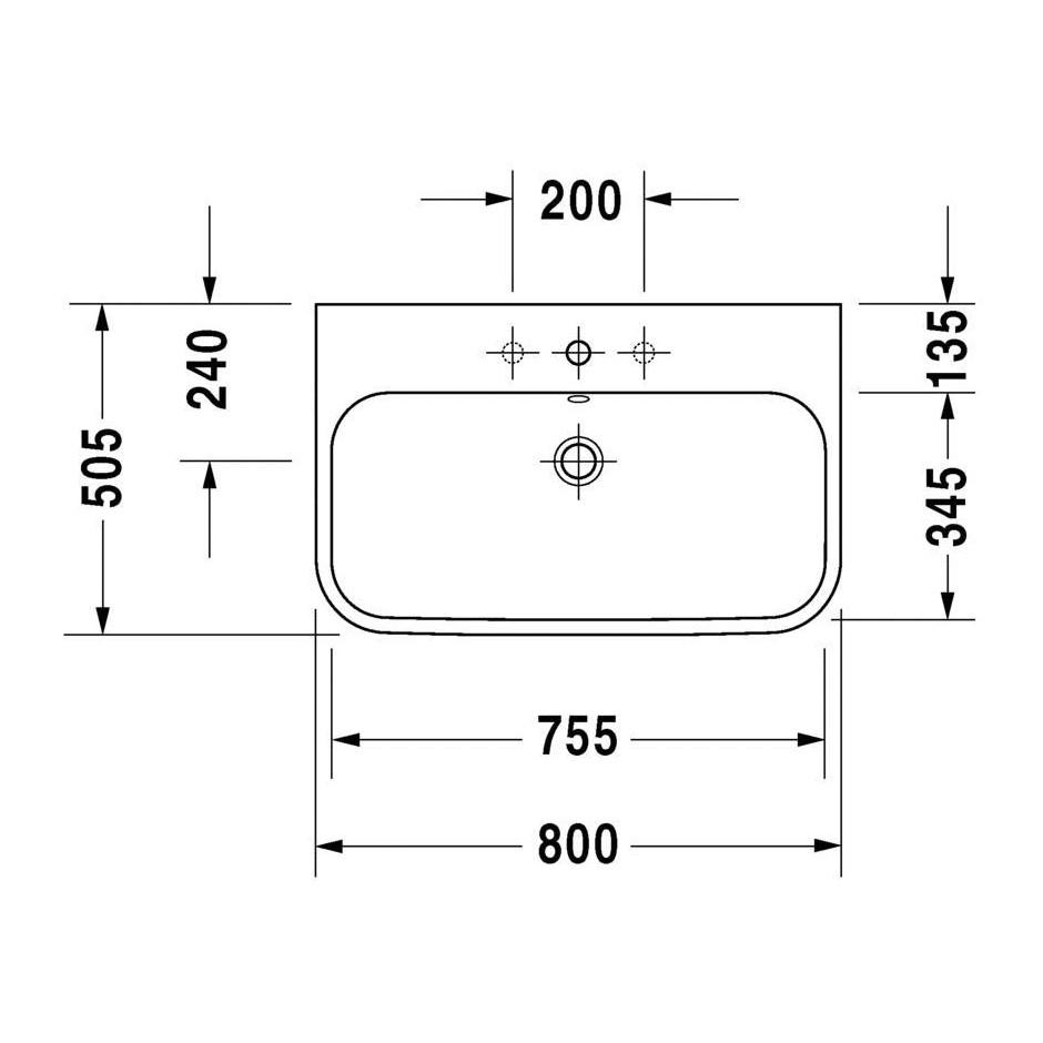 duravit 2318800025 happy d 2 umywalka meblowa szlifowana 80x50 5 cm. Black Bedroom Furniture Sets. Home Design Ideas