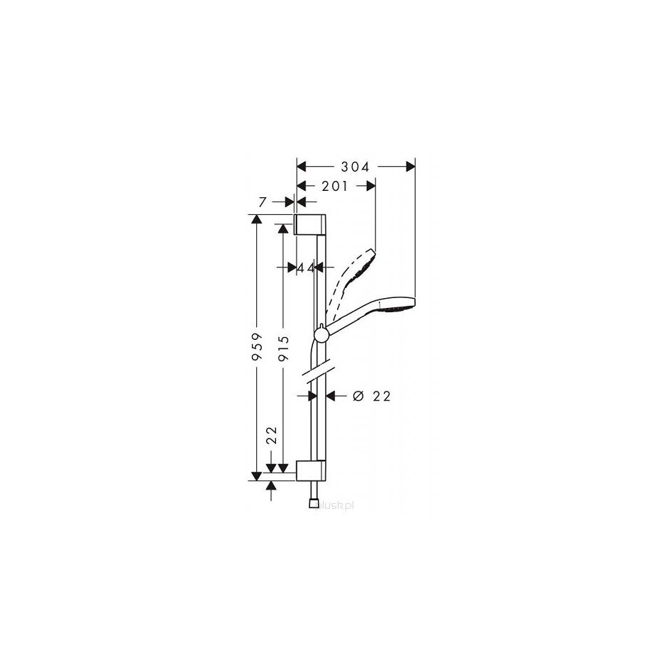 hansgrohe zestaw prysznicowy croma select e vario 0 90 m bia y chrom. Black Bedroom Furniture Sets. Home Design Ideas