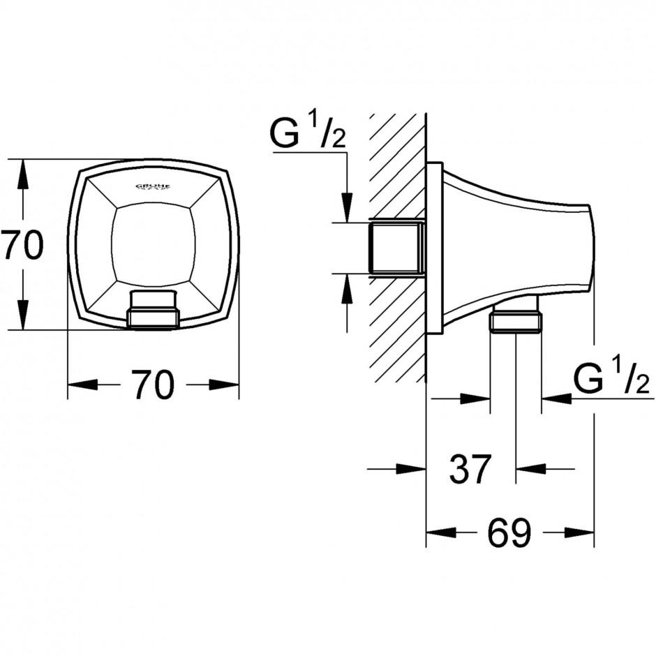 Grohe Grandera kolano przyłączeniowe chrom - 463523_T1
