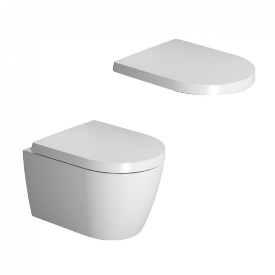 Duravit ME by Starck miska WC wisząca 48 bezrantowa + deska w/o (253009000+0020190000) Biały - 769753_O1