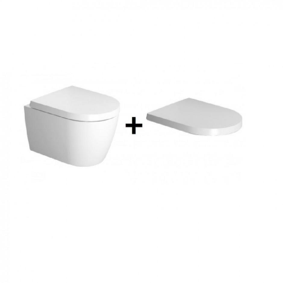 Duravit ME by Starck miska WC wisząca 48 bezrantowa + deska w/o (253009000+0020190000) Biały - 769753_O3