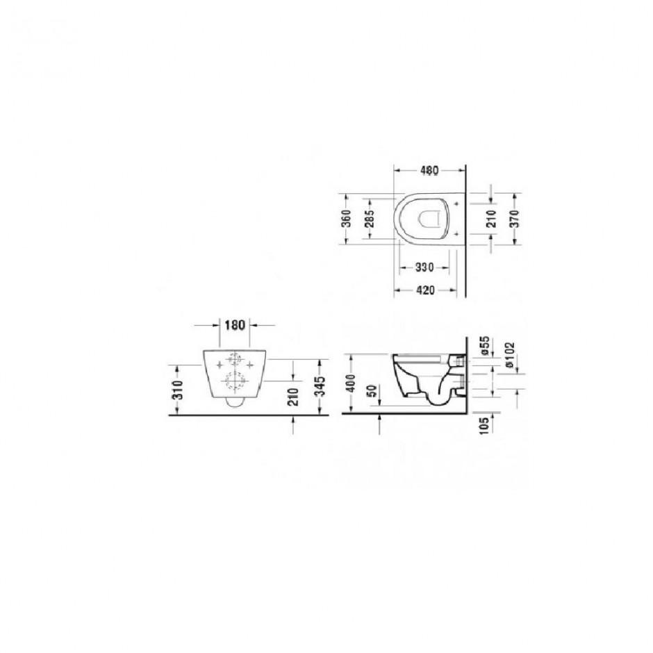 Duravit ME by Starck miska WC wisząca 48 bezrantowa + deska w/o (253009000+0020190000) Biały - 769753_T1