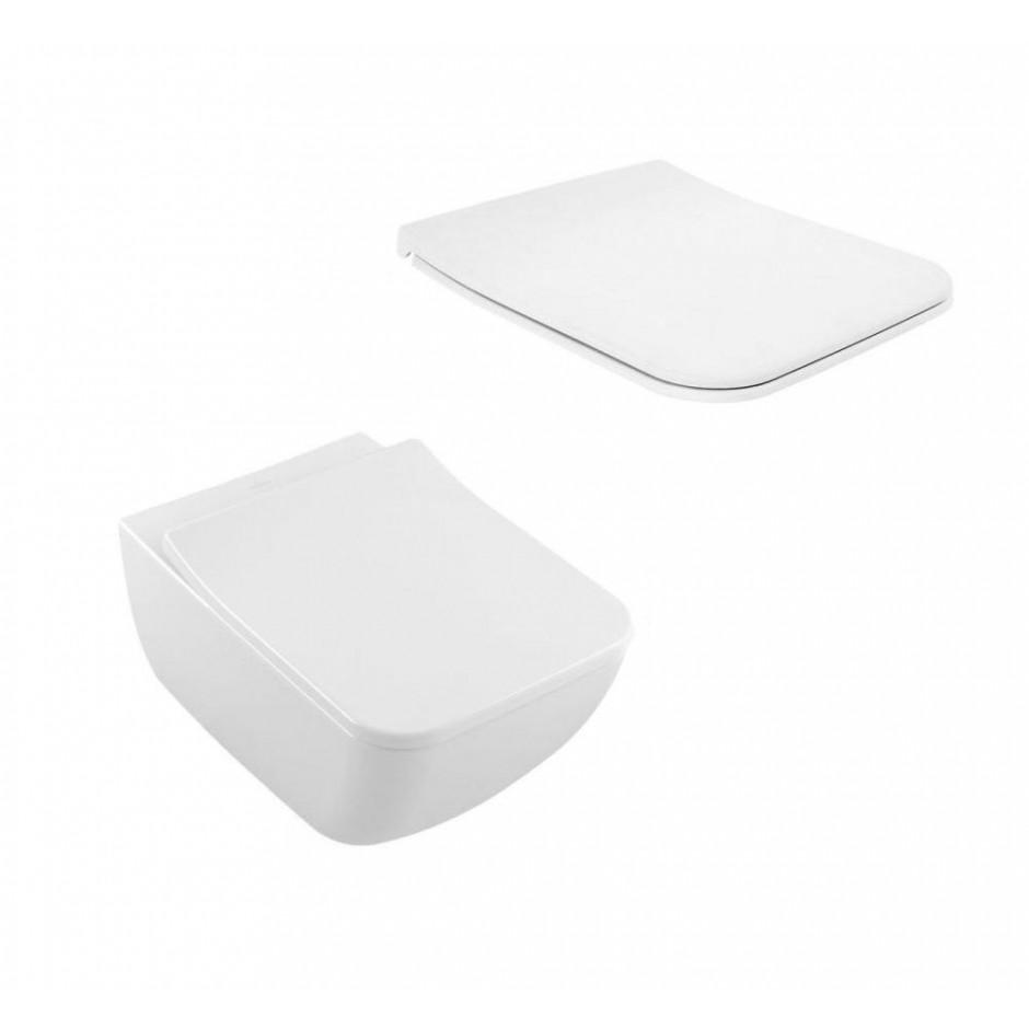 Villeroy & Boch Venticello Combi-Pack miska WC DirectFlush 4611 R0 XX, Deska sedesowa SlimSeat Line z zawiasami QuickRelease i SoftClosing 9M80 S1 01, odpływ poziomy - 688048_O1