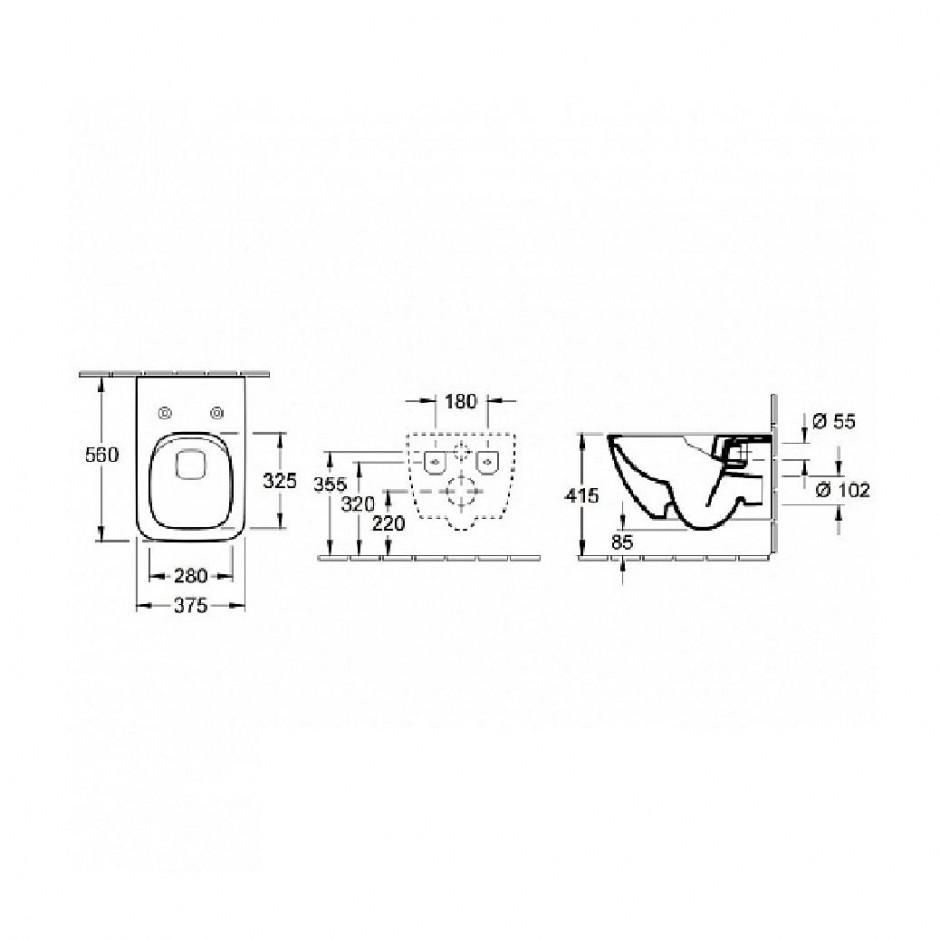 Villeroy & Boch Venticello Combi-Pack miska WC DirectFlush 4611 R0 XX, Deska sedesowa SlimSeat Line z zawiasami QuickRelease i SoftClosing 9M80 S1 01, odpływ poziomy - 688048_O2