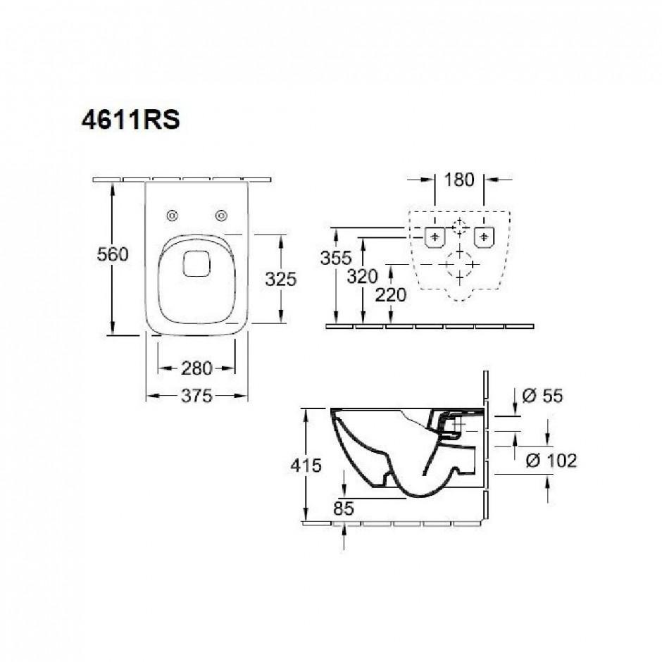 Villeroy & Boch Venticello zestaw miska WC bezrantowa DirecFlush + deska (4611R0R1+ 9M79S101) - 688062_O4