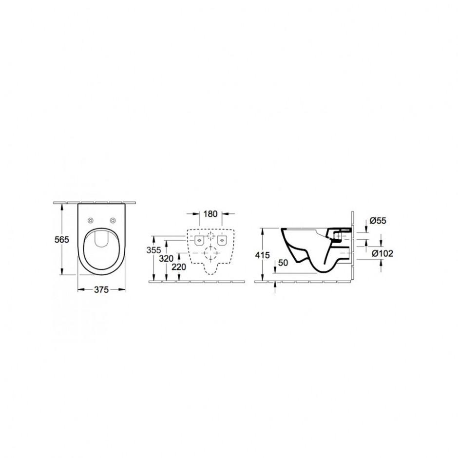 Villeroy & Boch Subway 2.0 zestaw miska WC bezrantowa + deska (5614R0R1+9M78S101) CeramicPlus - 579982_T1