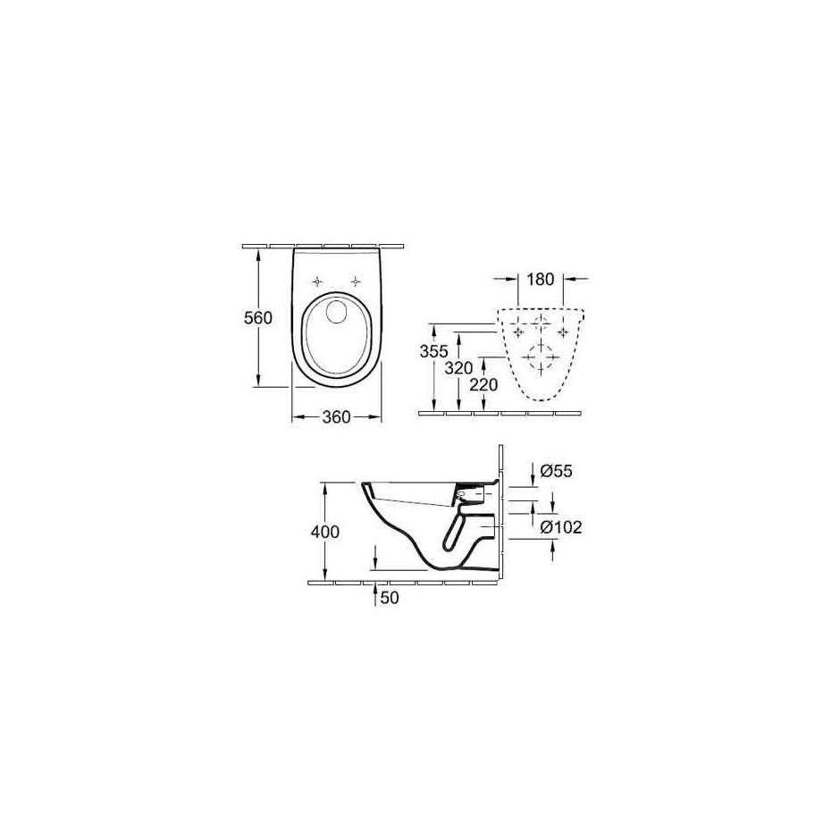 Villeroy & Boch O.Novo Zestaw miska WC wisząca Weiss Alpin 360x560 mm z deską wolnoopadającą ( 56601001 +9M38S101) - 425774_T1