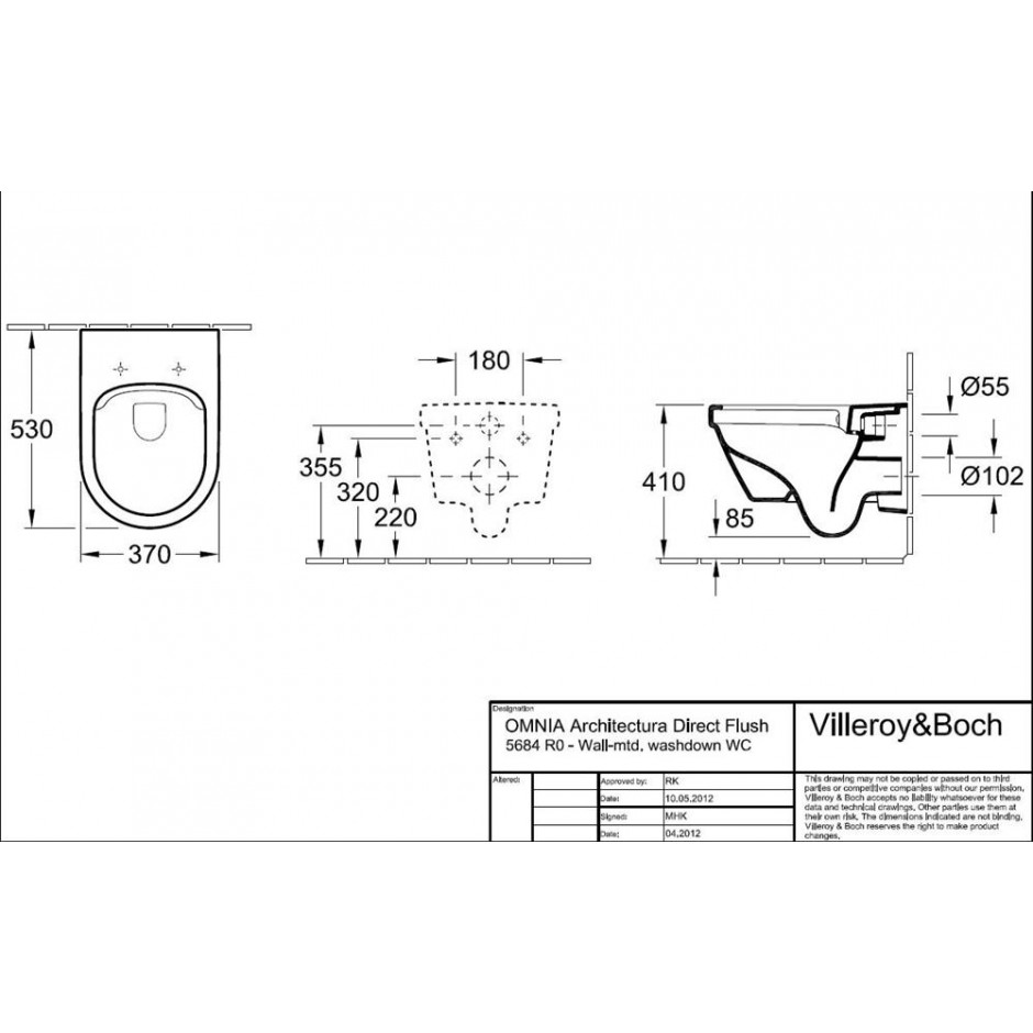 Villeroy & Boch Architectura - Zestaw miska wisząca bezrantowa + deska (5684R001+98M9C101) - Weiss Alpin - 464305_T1
