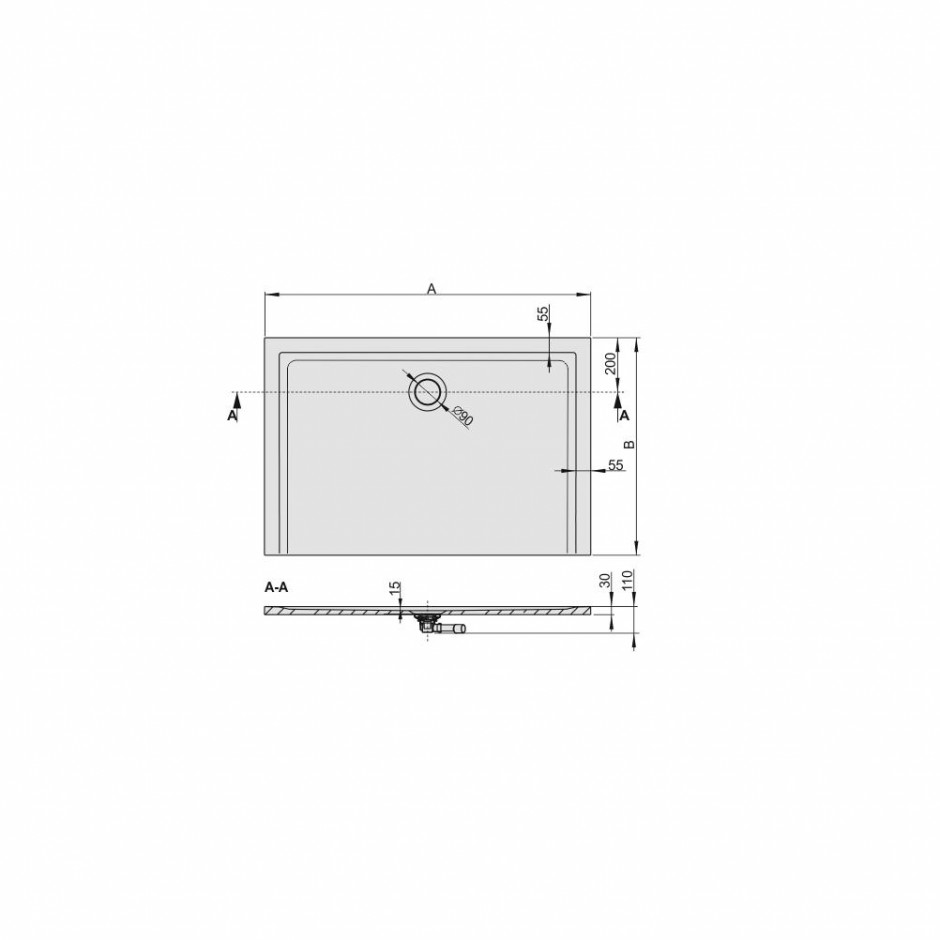 Sanplast Brodzik B-M/SPACE 70x110x1,5 biały - 633812_O3