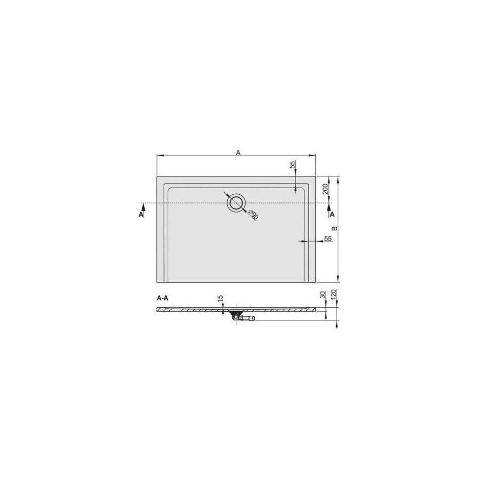 Sanplast Brodzik B-M/SPACE 80x90x1,5 biały - 458302_T1