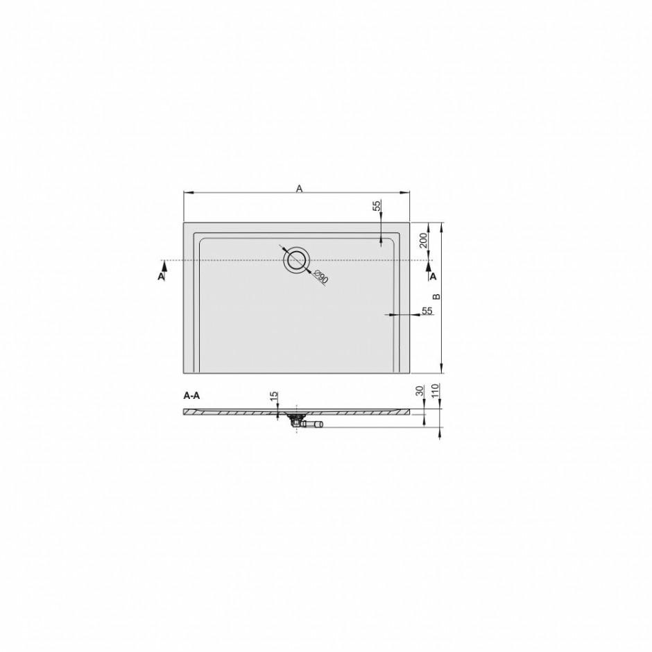 Sanplast Brodzik B-M/SPACE 100x120x1,5 biały - 634207_O3