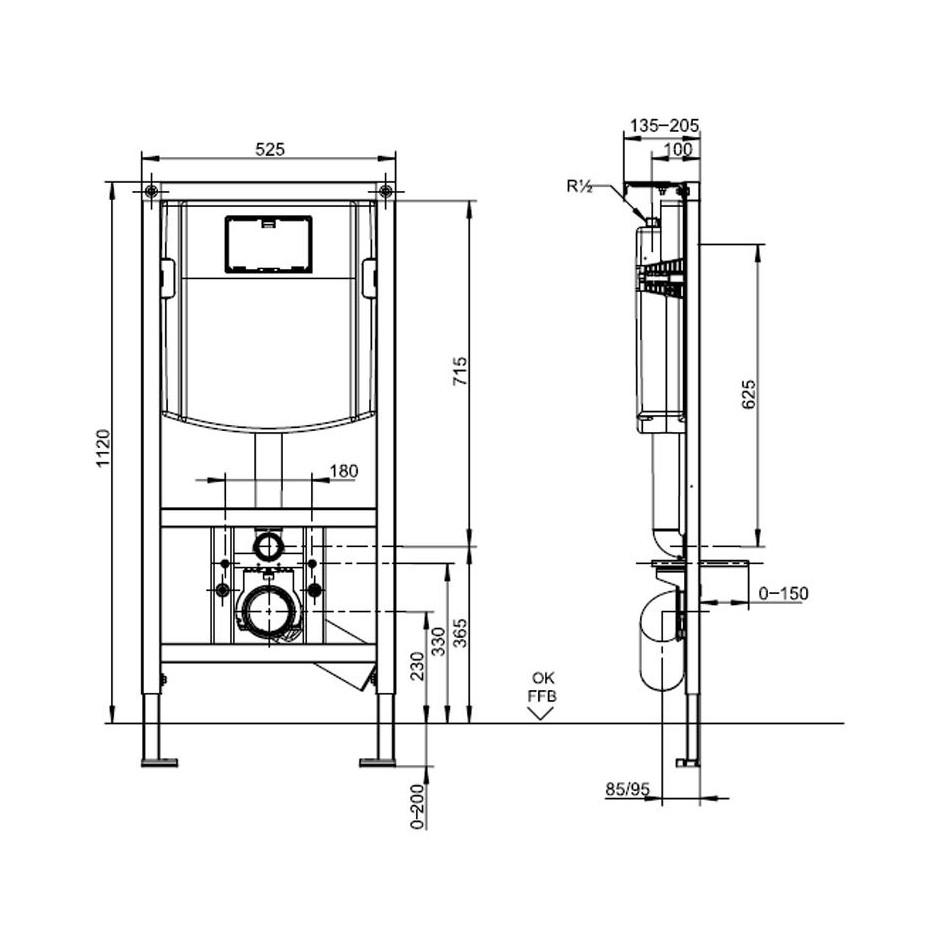 Villeroy & Boch ViConnect Stelaż podtynkowy do miski WC wiszącej - 540007_T1