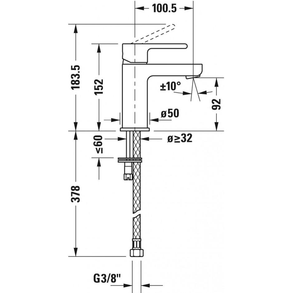 Duravit B.2 Bateria umywalkowa 1-otworowa bez korka automatycznego Chrom - 720508_O2