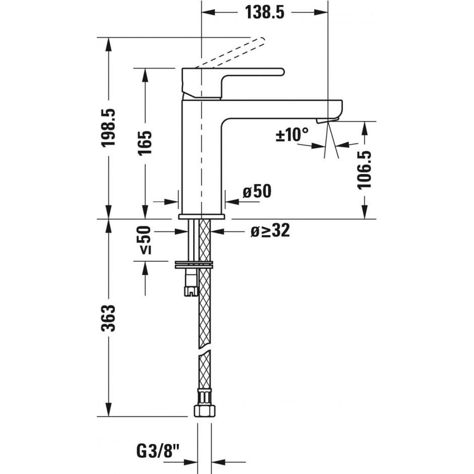 Duravit B.2 Bateria umywalkowa 1-otworowa z korkiem automatycznym Chrom - 720509_O2