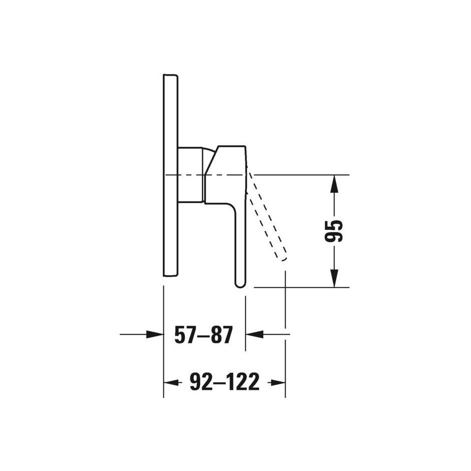 Duravit B.2 Bateria prysznicowa podtynkowa - element zewnętrzny Chrom - 720514_O2