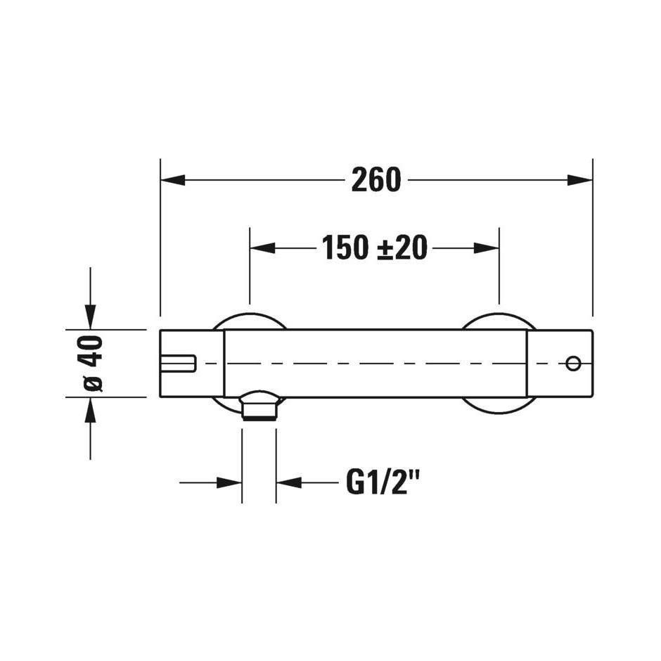 Duravit B.2 Bateria prysznicowa termostatyczna ścienna Chrom - 720513_O2