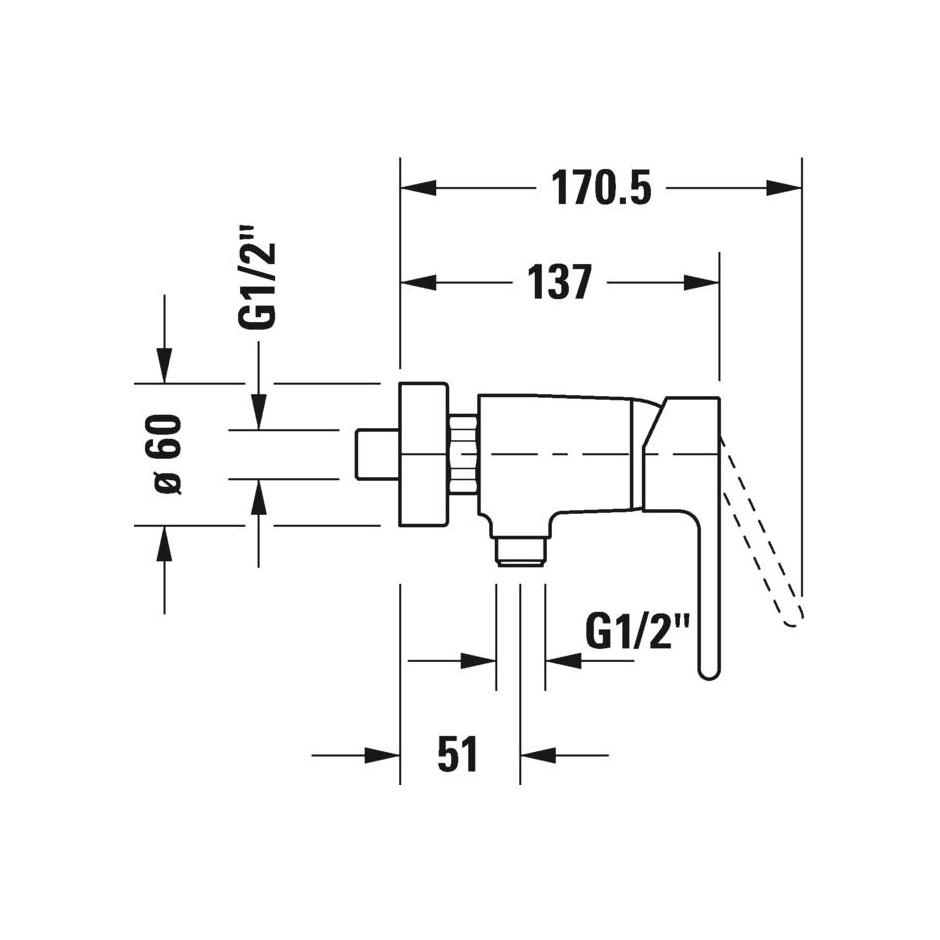 Duravit B.2 Bateria prysznicowa ścienna Chrom - 720512_O2