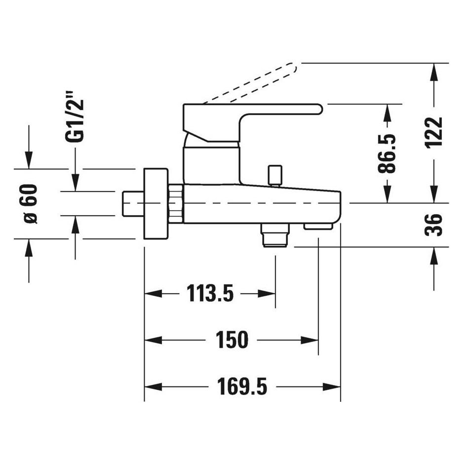 Duravit B.2 Bateria wannowo - prysznicowa ścienna Chrom - 720516_O2