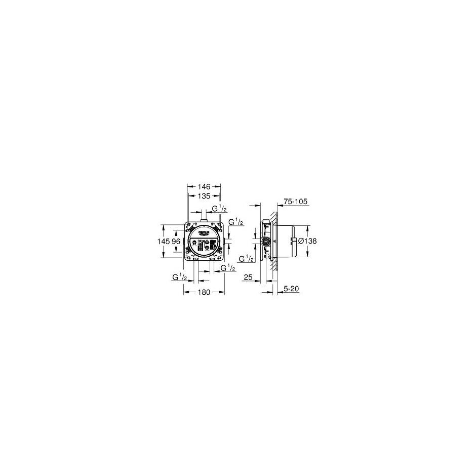 Grohe Eurosmart New Zestaw wannowy podtynkowy z napełnianiem przez przelew (24043002 + 2120005N + 35600000 + 2765205) chrom - 739878_O2