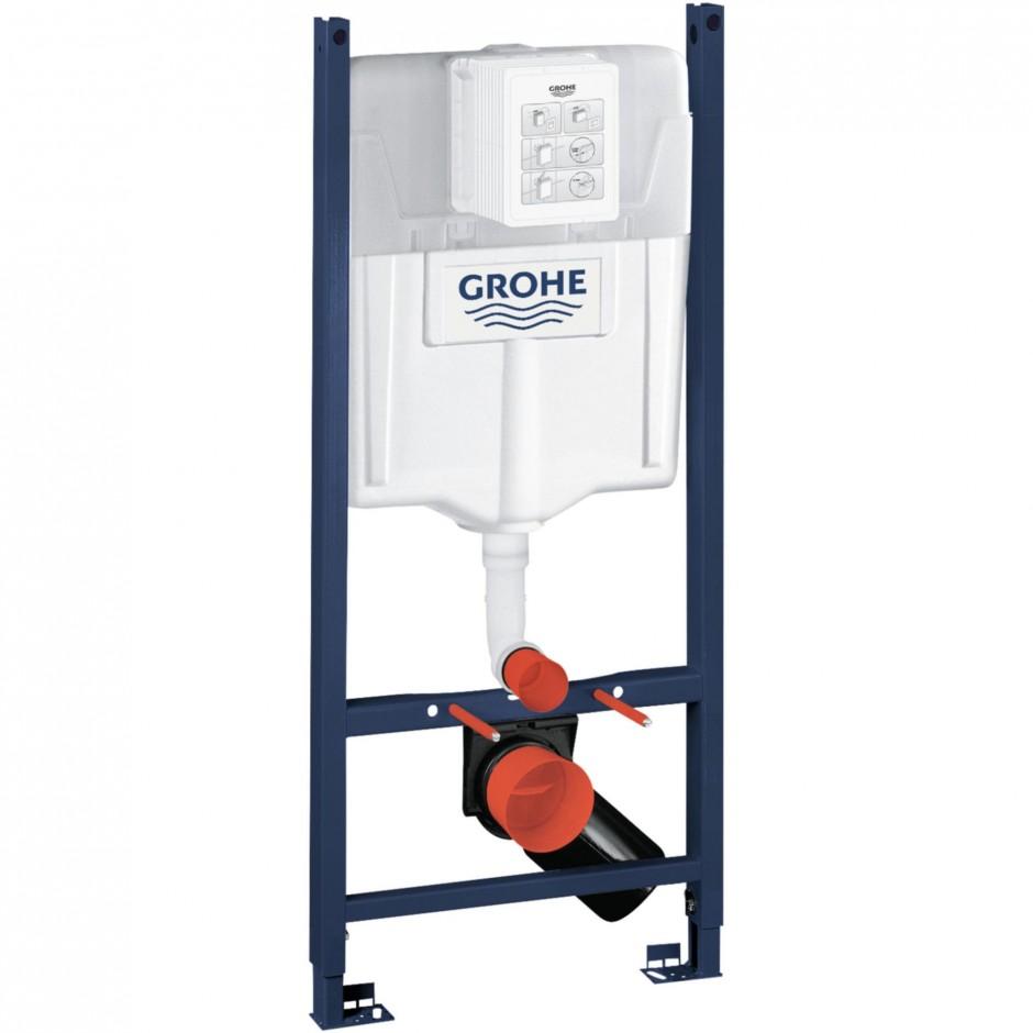 Grohe Rapid SL 4w1: Stelaż podtynkowy WC, 1,13 m + Przycisk Grohe Skate Cosmopolitan + wsporniki + mata (38840000+38732000+3855800M+12345678) chrom - 460234_O1