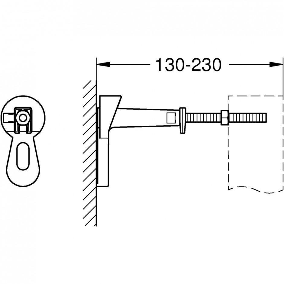 Grohe Rapid SL 4w1: Stelaż podtynkowy WC, 1,13 m + Przycisk Grohe Skate Cosmopolitan + wsporniki + mata (38840000+38732000+3855800M+12345678) chrom - 767364_A1