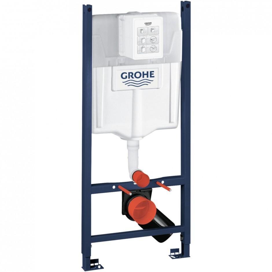 Grohe Rapid SL 4w1: Stelaż podtynkowy WC, 1,13 m + Przycisk Grohe Skate Cosmopolitan + wsporniki + mata (38840000+38732000+3855800M+12345678) chrom - 767364_O2