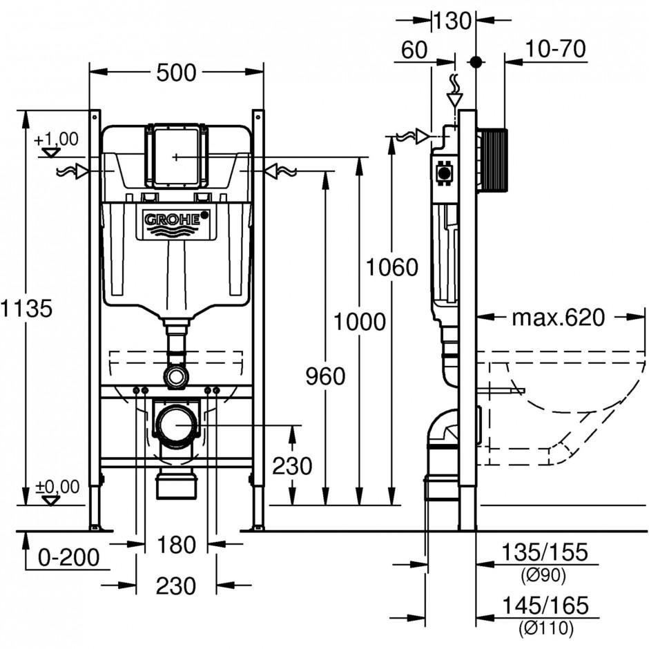 Grohe Rapid SL 4w1: Stelaż podtynkowy WC, 1,13 m + Przycisk Grohe Skate Cosmopolitan + wsporniki + mata (38840000+38732000+3855800M+12345678) chrom - 767364_T1