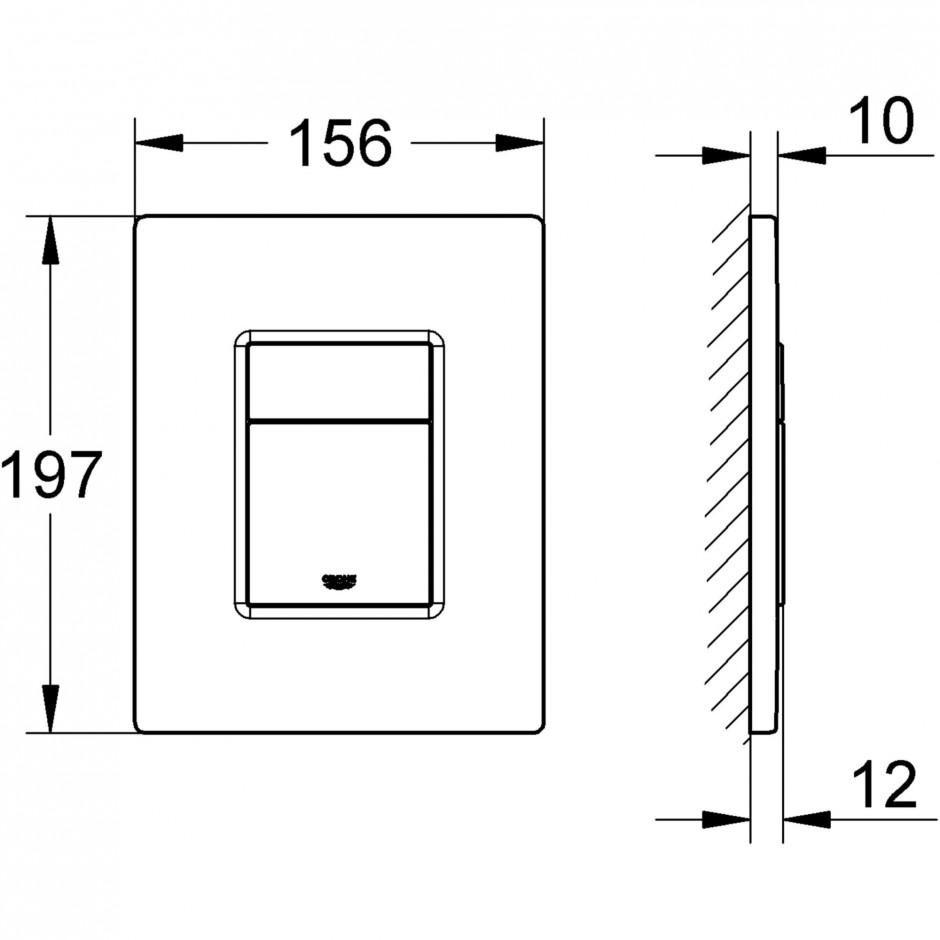 Grohe Rapid SL 4w1: Stelaż podtynkowy WC, 1,13 m + Przycisk Grohe Skate Cosmopolitan + wsporniki + mata (38840000+38732000+3855800M+12345678) chrom - 767364_T3