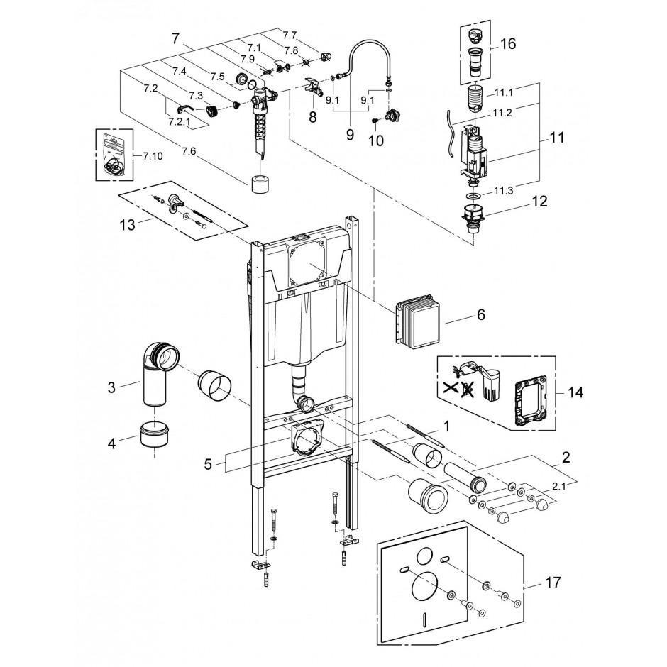 Grohe Koło Nova Pro Zestaw 6w1: Stelaż podtynkowy z miską WC wiszącą bezrantową/Rimfree, deską wolnoopadającą i przyciskiem (3884+M3312+M30112+38732) - 769550_T2
