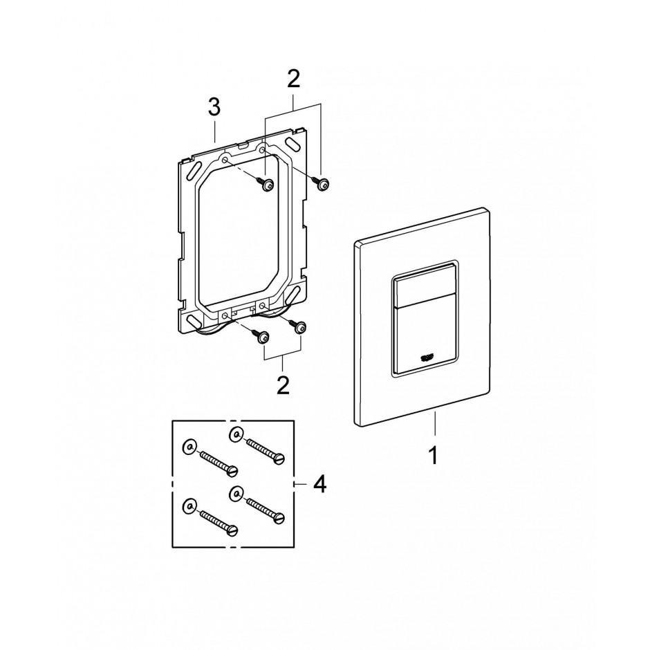 Grohe Koło Nova Pro Zestaw 6w1: Stelaż podtynkowy z miską WC wiszącą bezrantową/Rimfree, deską wolnoopadającą i przyciskiem (3884+M3312+M30112+38732) - 769550_T4
