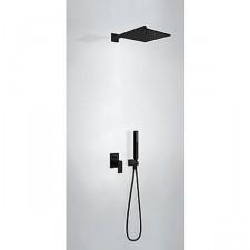 Tres Cuadro Exclusive kompletny zestaw prysznicowy podtynkowy deszczownica 300x300mm czarny matowy - 749888_O1