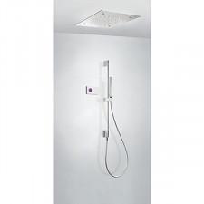 Tres Shower Technology kompletny zestaw prysznicowy podtynkowy termostatyczny elektroniczny 3-drożny deszczownica sufitowa chrom - 720743_O1